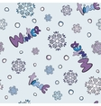 Seamless winter pattern with snowflakes and snow vector image