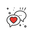 speech bubble with heart line icon conversation vector image vector image