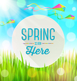 Spring greeting banner on landscape with kites vector image vector image