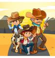 Three cowboys at the road vector image vector image