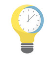 time light bulb icon clock as business idea vector image vector image