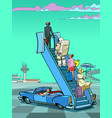 tourists stand on the ladder to the plane vector image