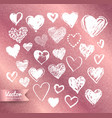 valentine hearts on rose gold background vector image vector image