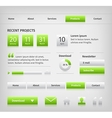 Web site design elements with green buttons hover vector image vector image