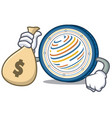 with money bag factom coin character cartoon vector image vector image