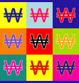 won sign pop-art style colorful icons set vector image vector image
