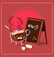 cartoon coffee cup sad angry face people emoji vector image