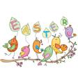 cute singing birds vector image