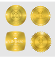 Guarantee of blank round polished gold metal badge vector image