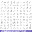 100 business workshop icons set outline style vector image