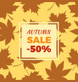 autumn sale -50 off in frame leaves foliage icons vector image vector image