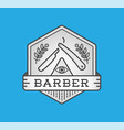 barber shop logo design vintage label badge vector image vector image