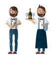 bartender in uniform with a tray and shaker vector image vector image