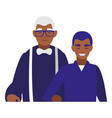 black grandfather with son characters vector image vector image
