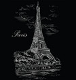 black hand drawing paris 1 vector image vector image