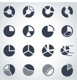 black pie chart icon set vector image vector image