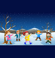 cartoon kids playing in the snow vector image vector image
