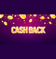 cash back 3d golden text with falling down coins vector image vector image