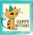 childish birthday card with funny little cat vector image vector image