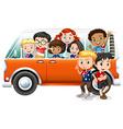 Children riding in orange camper van vector image vector image