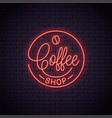 coffee neon logo coffee shop neon sign vector image vector image