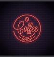 coffee neon logo shop neon sign vector image