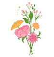 collection wild and garden blooming flowers in vector image