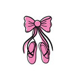 color ballet shoes style with ribbon bow vector image vector image