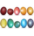 colorful easter eggs collection vector image vector image