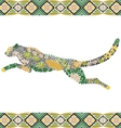 Creative puma pattern made from flowers leaves vector image