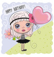 cute cartoon girl with a balloon vector image vector image
