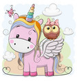 cute cartoon unicorn and owl vector image