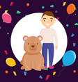 cute circus bear with man character vector image vector image