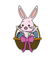 cute rabbit with easter egg vector image vector image