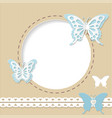 cute round frame with paper cut butterflies vector image vector image