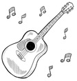 doodle guitar acoustic vector image vector image