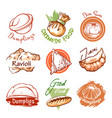 dumplings oriental restaurant logo and graphic vector image