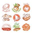 dumplings oriental restaurant logo and graphic vector image vector image