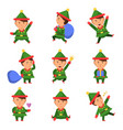 elf characters xmas mascot collection dwarf santa vector image