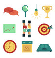 flat business symbols icon set vector image