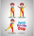 funny happy clowns comedy character april fools vector image
