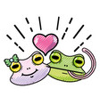 grated cute frog couple animal with heart design vector image vector image