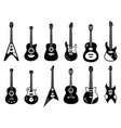 guitars silhouette black electric and acoustic vector image