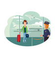 guy refugee at airport wants to leave country vector image vector image