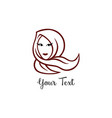 hijab logo young lovely muslim girl line art vector image vector image