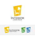 home interior logo design vector image vector image