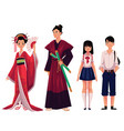 japanese people - geisha and samurai typical vector image