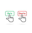 linear do s and don ts click button vector image vector image