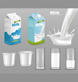 milk and yogurt packages realistic dairy vector image vector image