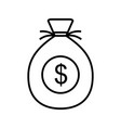 money bag line black icon vector image vector image